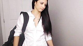Cute schoolgirl in short skirt giving head