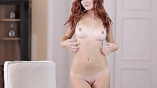 Perfectly shaped redhead babe Mia. Nice tits