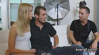 Bankrupt lover allows hot mate to ream his gf for cash