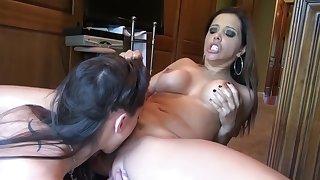 Crazy pornstars Francesca Le and Georgia Jones in hottest brunette, cunnilingus porn movie