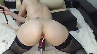 Stockings  a fucking machine and spanking.