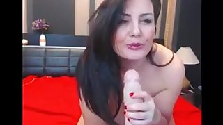 Sexy busty woman with big tits playing