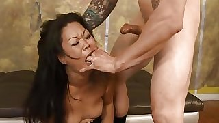 (new) First timer Asian MILF Jeanna throat fucked & degraded