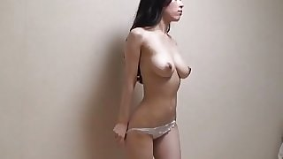 Japanese girls swaying big tits while naked exercise