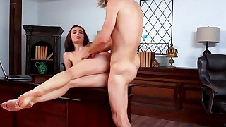 Complete POV sex on the desk for young Lana Rhoades