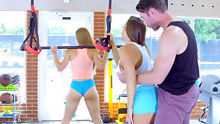 Workout determines young sluts to share cock together