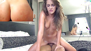 Teen ends massive POF show with cum on her sexy ass