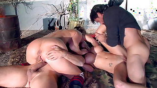 Mind blowing foursome sex with two amazingly hot milfs