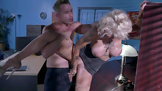 office milf tries new guy's heavy cock during overtime