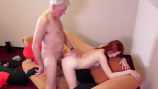 Petite redhead fucked by senior male in tough ways