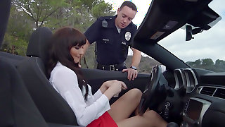 Police officer fucks Bianca Breeze in outdoor scenes