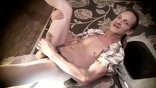 Hot Aerial SKYPE!: Squirming on Floor with Huge Horny Cock, big cum shot