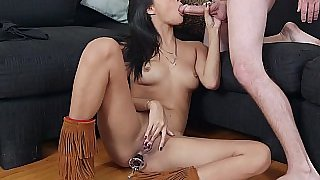 Blowing with her boots on