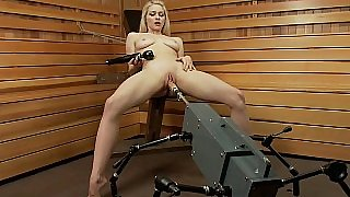 Slutty babe destroys her vagina with sex machine